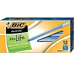 BIC Round Stic Classic Ballpoint Pen, Medium Point (1.0mm)-Black-12 ct