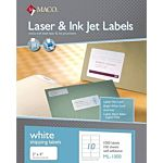 MACO Laser/Ink Jet White Shipping Labels, 2 x 4 Inches, 10 Per Sheet, 1000 Per Box , ML-1000