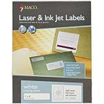 MACO Laser/Ink Jet White Address Labels, 1 x 4 Inches, 20 Per Sheet, 2000 Per Box , ML-2000