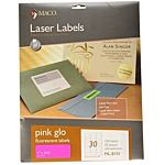 MACO LASER PINK FLUORESCENT LABELS, 1 X 2-5/8 INCHES, 30 PER SHEET, 750 PER PACK (ML-8101)