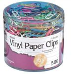 Assorted Colored Vinyl Paper Clips 500/Box