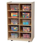 WoodDesigns, Children Vertical Storage with 10 Translucent Trays, 38