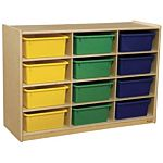 WoodDesigns, Children Cubby Shelves with Assorted Trays, Natural wood Color, 29-1/16
