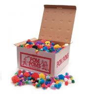 Giant Box of Craft Pom Poms Assorted Colors, 1000/box , Item PMR1000