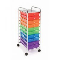 10-Drawer Organizer Cart, Available in Multi-Color ,Smoke Gray, White