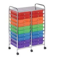 20-Drawer Organizer Cart Available in Assorted Colors, Multi-Color, Gray, White