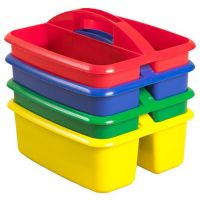 2 Compartment Large Art Caddy Available in blue, green, red, and yellow