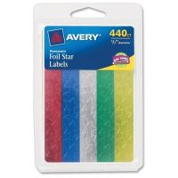 Self-Adhesive 1/2 Assorted Color Foil Stars, AVE06007
