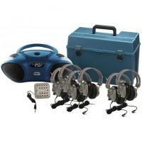 Classroom CD/FM/Bluetooth Media Player & 6-Station Listening Center, Deluxe Noise-Reducing Headphones