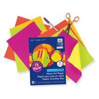 Pacon Neon Fluorescent heavyweight Construction Paper, Assorted Colors, 9-Inches by 12-Inches, 20-Count, 104300