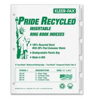 Kleer-Fax Recycled Insertable Ring Book Index - Letter - 5 Tab / Set Clear