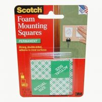 3M Scotch Precut Foam Mounting Squares Heavy Duty, 1 Inch, 16 Count