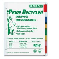 Kleer-Fax Recycled Insertable Ring Book Index - Letter - 8 Tab / Set Assorted Colors