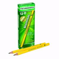Dixon Ticonderoga Beginners Primary Size #2 Pencils without Erasers, Box of 12, Yellow (13080)