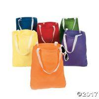 Large Bright Colors Tote Bags Canvas   (1 Dozen) - Bulk