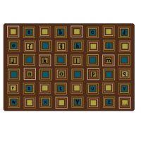 Kids Literacy Squares Nature Carpet  6' x 9'