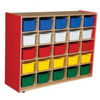 WoodDesigns, 25 Tray Storage Red with Assorted Trays, WD16003R