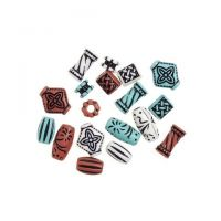 Old World Acrylic Beads Assorted Shapes and Metallic Colors Big Value