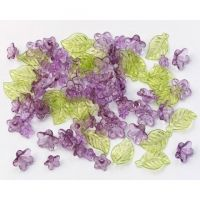 Darice Crafts Acrylic Beads Flower and Leaf Purple and Green