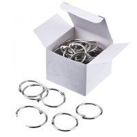 Loose Leaf Rings, 1 1/4 Inch Diameter, Silver, 100/Box
