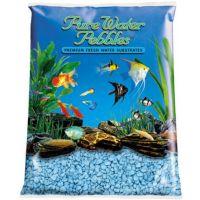 Light Blue Aquarium Natural Gravel,  Acrylic Coating - 5 LBS Bag