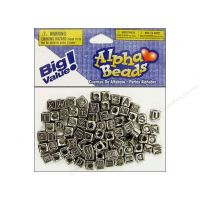 Alphabet Beads 6 mm Cube Silver with Black Letters 85 pc.