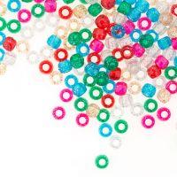 Pony Beads  Acrylic Glitter Colors  9mm  1 lb Big Value