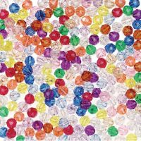 Faceted Plastic Beads - Translucent Sold Color - 8mm - 1000 pieces, Multi, Yellow, Green, Pink, Red, Blue