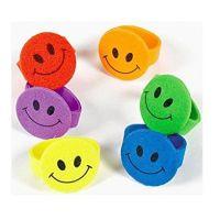 Foam Smiley Face Rings (144 pc)