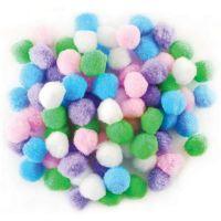 Acrylic Pom-Poms, 1/2 Inch, Assorted Pastel , 150/Bag