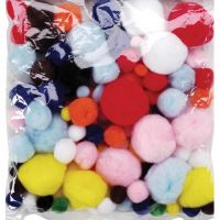 Assorted Sizes Acrylic Craft Bright Colors Pom Poms 300/pack