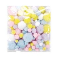 Assorted Sizes Acrylic Craft Pastel Colors Pom Poms 300/pack