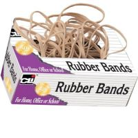 Charles Leonard Rubber Bands, Tissue-style Box, #54, Beige/Natural 1/4 pound Assorted Sizes