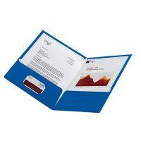 Laminated Twin-Pocket Portfolios, Blue , 8 1/2