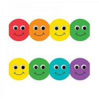 Hygloss Classroom Die Cut Smiley Faces Border, 3 x 36-Inch, Blue, 12-Pack