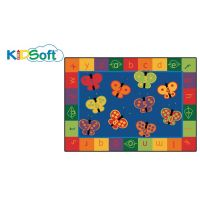 Kids Soft 123 ABC Butterfly Fun Rug, Carpet 6' x 9' Rectangle