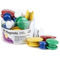 Charles Leonard Magnets, Assorted Sizes and Colors, 30 per Tub (35930)