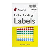 MACO Assorted Primary Round Color Coding Labels, 1/4 Inches, 768 Per Box (MR404-A1)