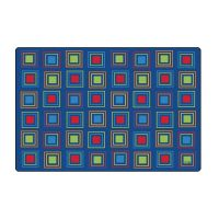 Kids Literacy Squares Primary Carpet  4' x 6' (without Letters)