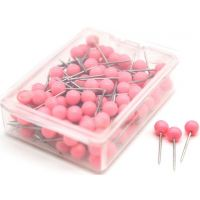 Map Push Pins, Plastic Head, Steel Point, Pink , 100-Count