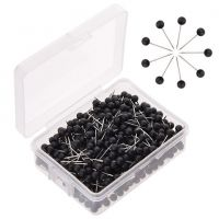 Map Push Pins, Plastic Head, Steel Point, Black , 100-Count