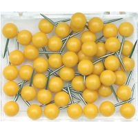 Map Push Pins, Plastic Head, Steel Point, Yellow , 100-Count