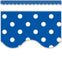 Blue Mini Polka Dots Scalloped Border Trim, TCR4666