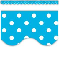 Aqua Mini Polka Dots Scalloped Border Trim,  TCR4670