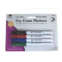 Charles Leonard, Dry Erase Markers with Chisel Tip, 4 Pack, Assorted Colors 47814