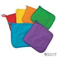 Colorful Kids' Natural Canvas Pot Holders To Decorate - 12 pcs.