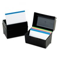 Plastic Index Card Flip Top File Box Holds 3