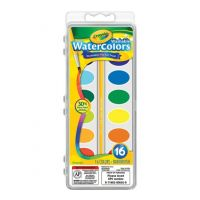 Crayola Washable Watercolors, 16 count with brush - 53-0555