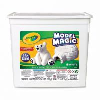 Crayola Model Magic Modeling Compound, 2-lb. Bucket, White, Four 8-oz. Pouches 57-4400