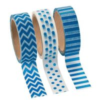 Blue Washi Tape Set (3 Rolls per Unit), 16'